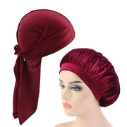 Red  Matching Velvet Durag & Bonnet Set - FRESHCOUPES.