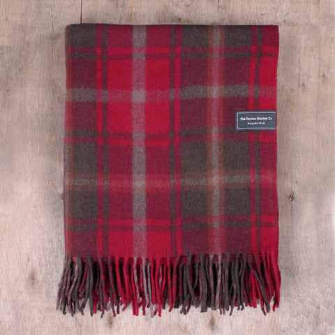 Dark Maple Tartan Wool Blanket