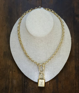 LV Quick Clasp Pave Lock Gold Necklace