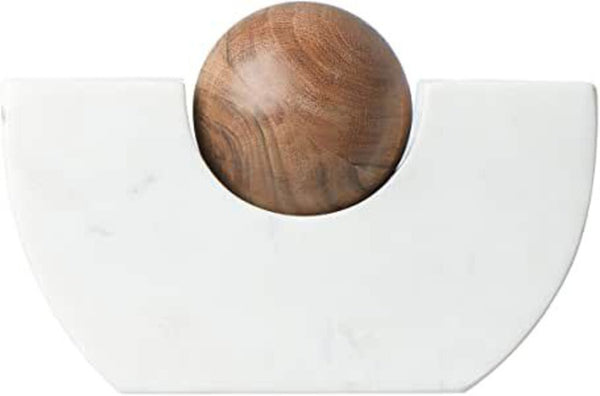 Marble & Wood Ball Taper Holder