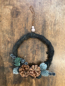 "8"" Pinecone and Frosted Berry Wreath"