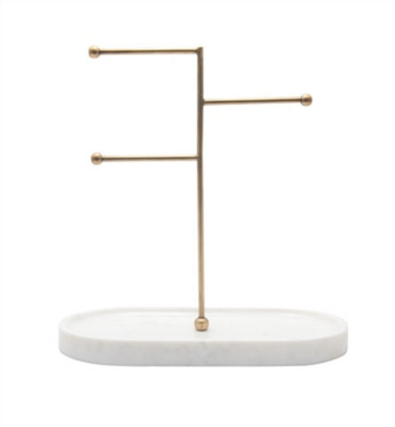 Marble & Brass Jewelry Stand