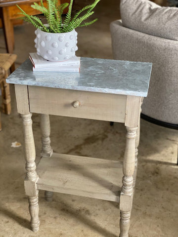 Pine Table with Galvanized Top