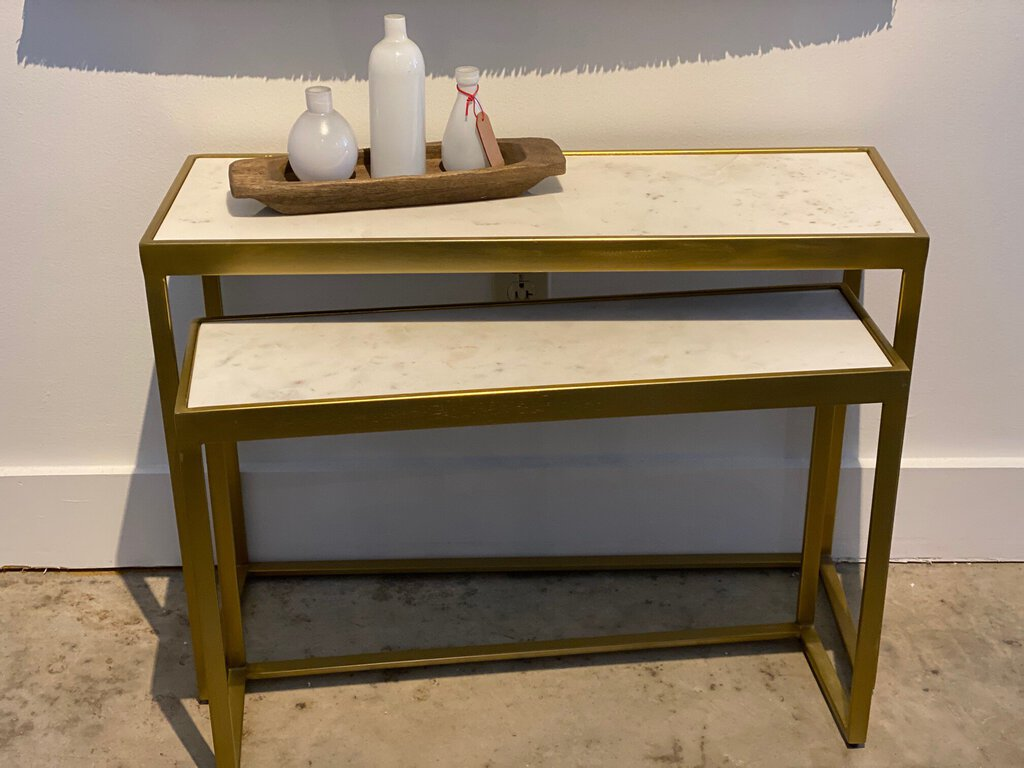 Set 2 Brass & Marble Consoles