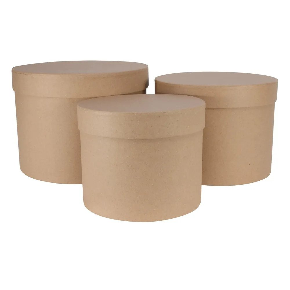 Kraft Hat Box (Set of 3) (Largest D19xH14.4cm)