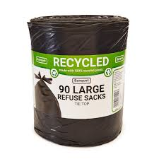 Banquet Recycled Tie Top Large Refuse Sacks, 90 Bags