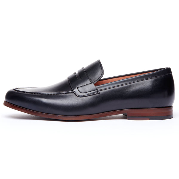 Black Leather Penny Loafer
