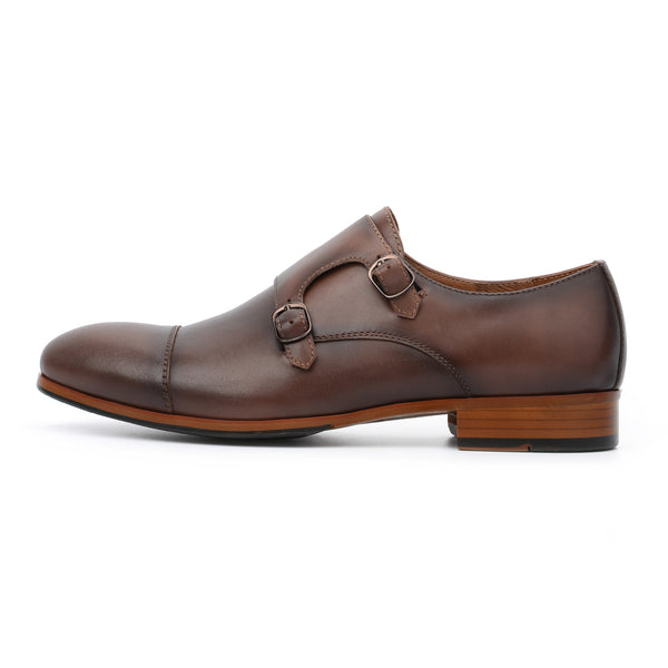 Dark Brown Leather Double Monk Strap