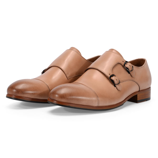 Caramel Leather Double Monk Strap
