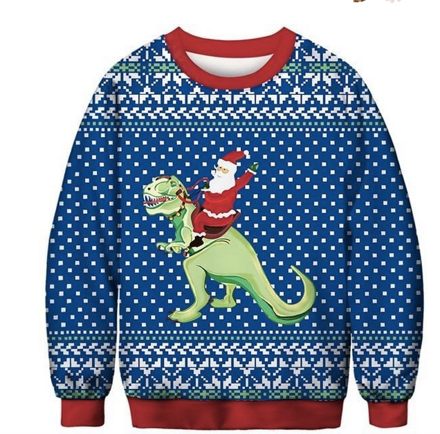 Santa Riding Dinosaur | Ugly Christmas Sweater