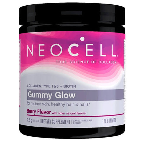 Neocell Gummy Glow, Collagen Type 1 & 3 + Biotin, Berry, 120 Gummies