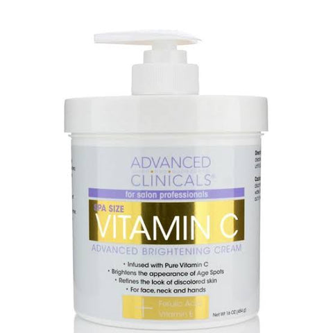 ADVANCED CLINICALS Vitamin C, Advanced Brightening Cream, 16 oz (454 g)