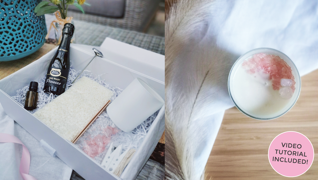 Rose Quartz Soy Candle - Craft Gift Box + Video Tutorial