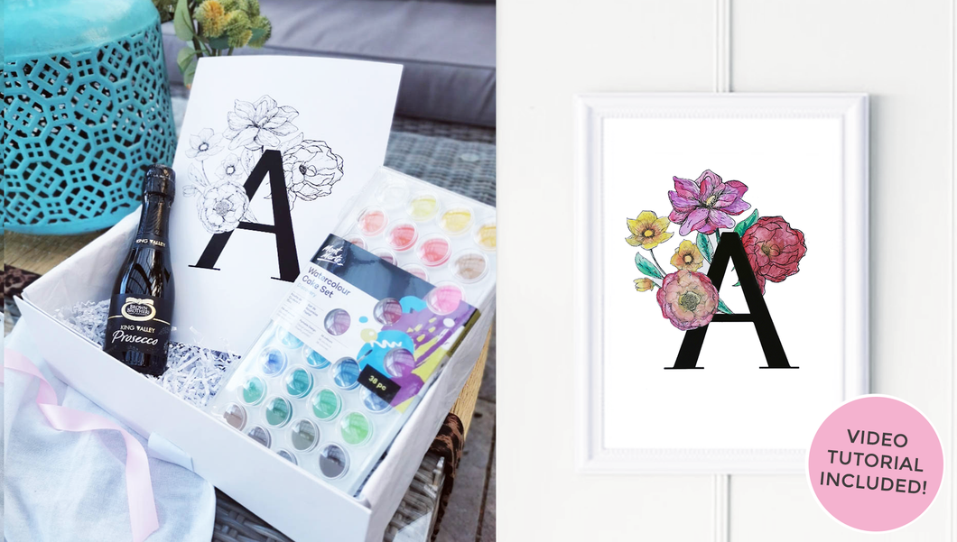 Watercolour Alphabet Initial Print - Craft Gift Box + Video Tutorial