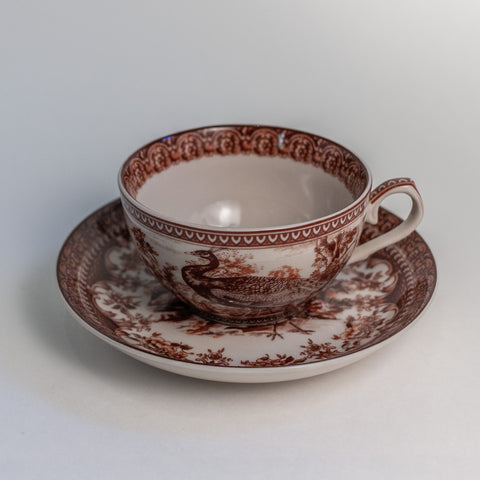 K&K Interiors Peacock Tea Cups and Saucers