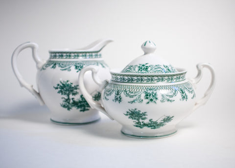 Green Transferware Sugar Bowl