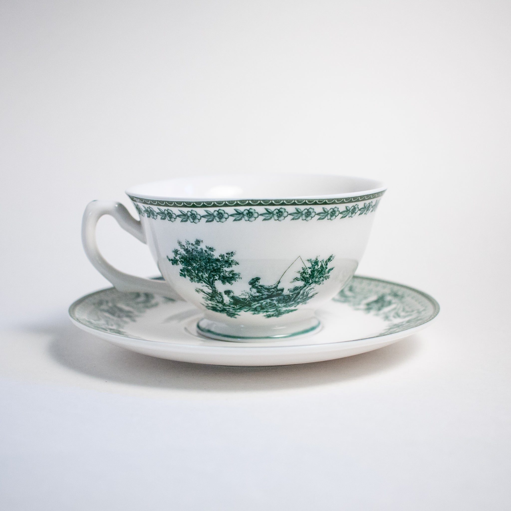 Green Pastoral Transferware Teacup and Saucer