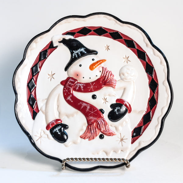 K&K Interiors Hand Painted Snowman Plates