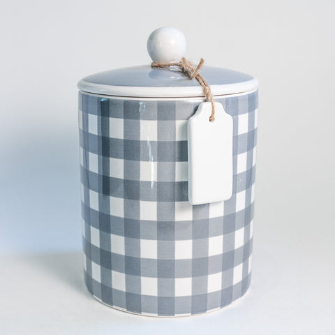 Gray Gingham Canister