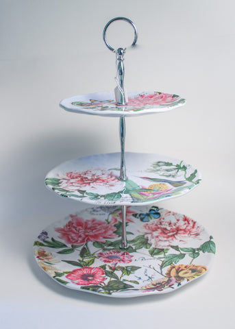 Three-tier Serveware - Peony Design