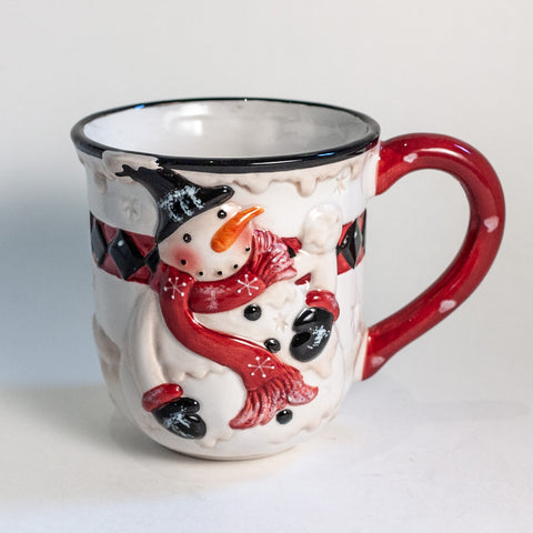 K&K Interiors Hand Painted Snowman Mugs