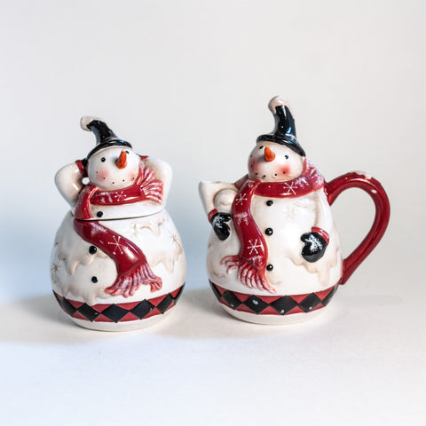 K&K Interiors Hand Painted Sugar and Creamer Set
