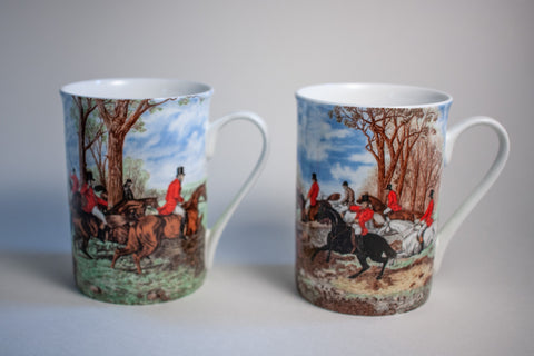 English Fox Hunting Mugs - Set of Two