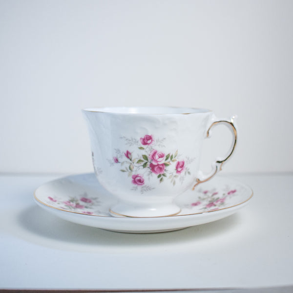 Rose Pattern Teacup and Saucers