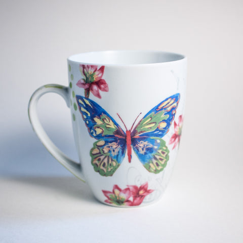 Butterfly Pattern Mugs - Set of Two