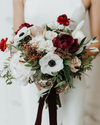 red white and blue bridal bouquet