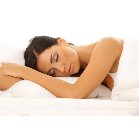Travel size down alternative pillow with silk pillowcase and eye mask