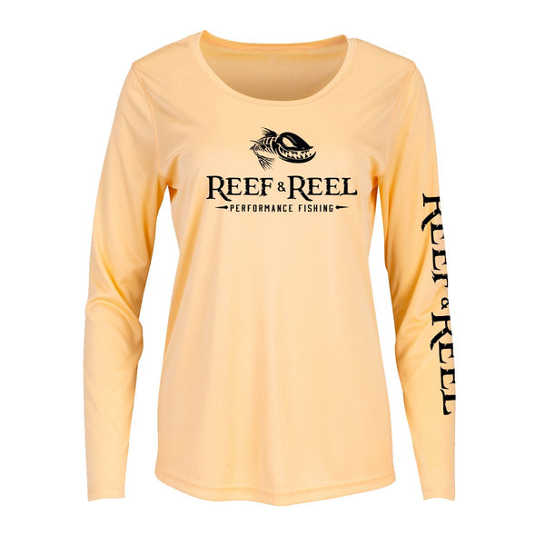 Reef & Reel Women's Floating Fish Big Logo Performance LS Shirt