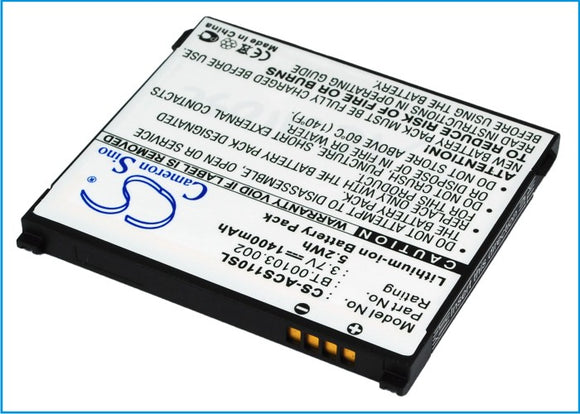 Battery for Acer NeoTouch S110 1UF504553-1-T0582, BT.00103.002 3.7V Li-ion 1400m