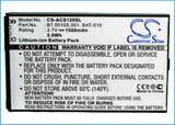 Battery for Acer Liquid Metal MT BAT-510, BAT-510 (1ICP5/42/61), BT.0010S.001, B