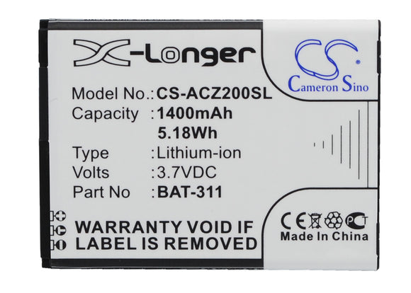 Battery for Acer Liquid Z220 BAT-311, BAT-311(1ICP5/43/55), KT.0010S.011 3.7V Li