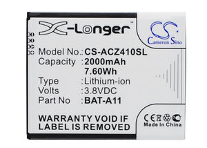 Battery for Acer T01 BAT-A11, BAT-A11(1ICP5/51/62), KT.0010K.007 3.8V Li-ion 200