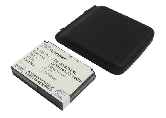 Battery for Audiovox SMT-5700 BTE5700 3.7V Li-ion 2200mAh / 8.14Wh
