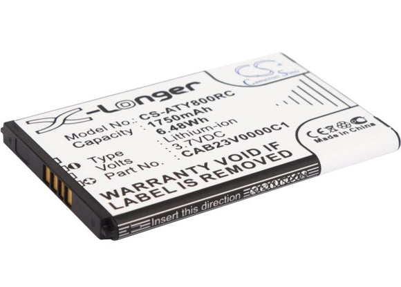 Battery for Alcatel One Touch Y580D CAB23V0000C1 3.7V Li-ion 1750mAh / 6.48Wh