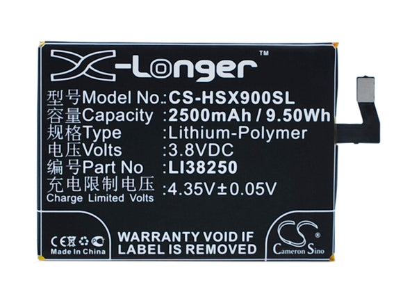 Battery for Hisense X9T LI38250 3.8V Li-Polymer 2500mAh / 9.50Wh