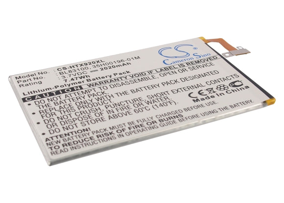 Battery for HTC Deluxe X920e 35H00196-01M, 35H00196-04M, 35H00198-01M, BL83100,