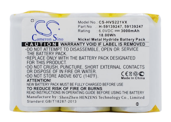 Battery for Hoover S2211 59139247, H-59139247 6V Ni-MH 3000mAh / 18.00Wh