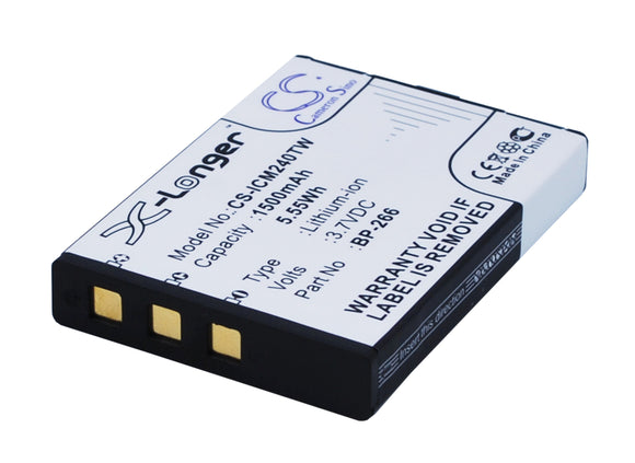 Battery for Icom IC-M23 BP-266 3.7V Li-ion 1500mAh / 5.55Wh