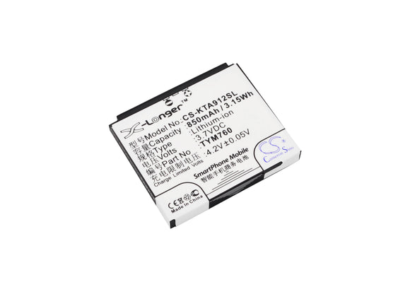 Battery for K-Touch S860 TYM760 3.7V Li-ion 850mAh / 3.15Wh