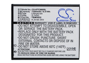 Battery for K-Touch C980 TBW5932 3.7V Li-ion 1300mAh / 4.81Wh