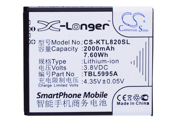 Battery for K-Touch L820c TBE5707B, TBL5995A 3.8V Li-ion 2000mAh / 7.60Wh