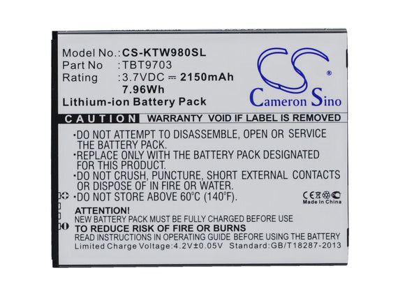Battery for K-Touch KIS 3 TBT9703 3.7V Li-ion 2150mAh / 7.96Wh