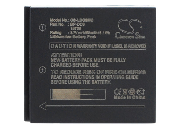 Battery for Leica X1 18706, BP-DC8, EA-DC-8 3.7V Li-ion 1400mAh