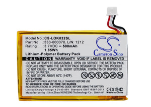 Battery for Logitech Ultratin Keyboard Cover 533-000070, L/N: 1212 3.7V Li-Polym