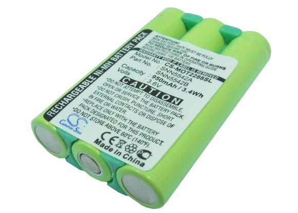 Battery for Motorola 2297 SNN5542A, SNN5542B 3.6V Ni-MH 800mAh / 2.88Wh