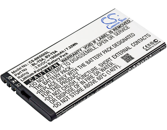 Battery for Microsoft Superman BL-T5A, BV-T5A 3.8V Li-Polymer 1900mAh / 7.22Wh